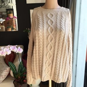Vintage Fisherman Cable Knit Sweater L
